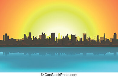 lato, cityscape, tło