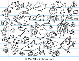 lato, doodle, notatnik, komplet, ocean