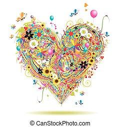 lato, elementy, serce, święto, formułować, projektować