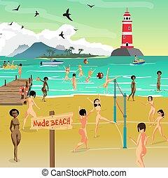 lato, gra, plaża., sunbathing, płaski, volleyball., nagi, młody, ilustracja, nagi, piasek, wektor, morze, rysunek, krajobraz, kobiety