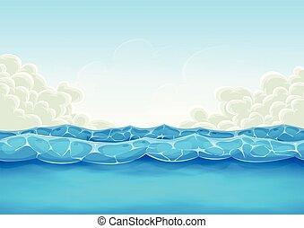 lato, gra, ui, tło, ocean