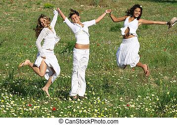 lato, grupa, wiosna, młody, skokowy, kobiety, albo, szczęśliwy