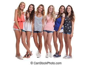 lato, grupa, zdrowy, nastolatki, uśmiechanie się, opalony