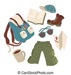 lato, hiking, ilustracja, wyposażenie, wektor, albo, backpacker.