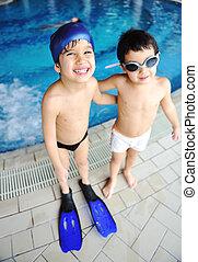 lato, interpretacja, pływacki, szczęście, działalność, woda, kałuża, dzieci