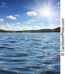 lato, jezioro, fale