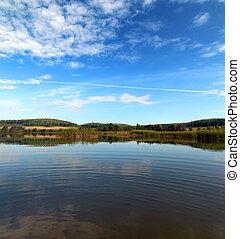 lato, jezioro, krajobraz