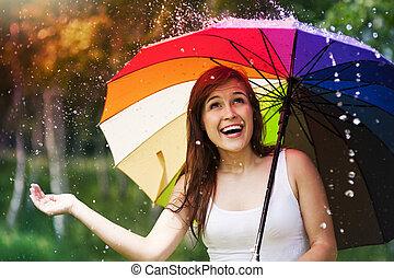 lato, kobieta, parasol, deszcz, podczas, zdziwiony