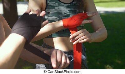 lato, kobieta, trening, opakowanie, młody, bandaże, siła robocza, dzień, człowiek