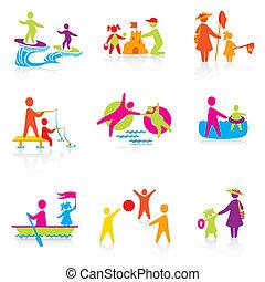 lato, komplet, sylwetka, ludzie, family., człowiek, ikony, -, chłopiec, koźlę, ojciec, vector., czas, kobieta, mother., dziewczyna, dziecko