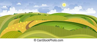 lato, krajobraz, panorama