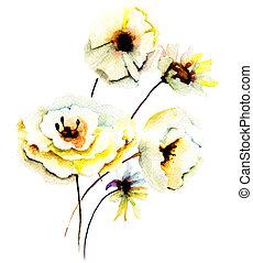 lato, kwiaty, żółty