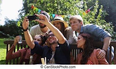 lato, ogród, selfie, partia, przyjaciele, wpływy