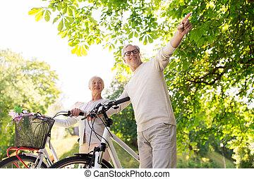 lato, para, park, bicycles, senior, szczęśliwy