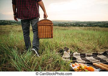 lato, piknik, pole, kosz, osoba, samiec