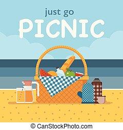 lato, piknik, zaproszenie, plaża, albo, karta