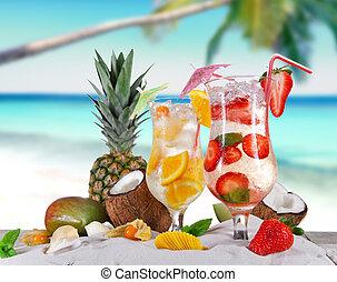 lato, plaża, pije