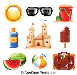 lato, plaża, powinowaty, ikony