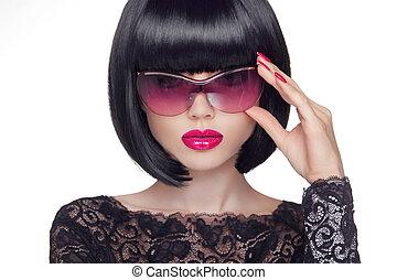lato, pojęcie, piękno, młody, sunglasses, kobieta, pociągający, portret, fason