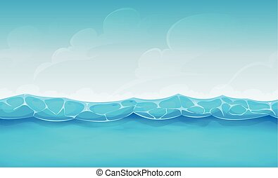 lato, seamless, ocean, gra, ui, tło