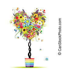 lato, serce, garnek, drzewo, formułować, projektować, kwiatowy, twój