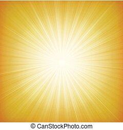 lato, starburst, tło, słońce