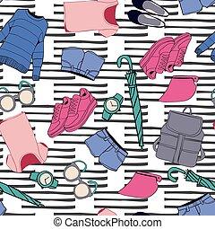 lato, styl, fason, przybory, stylizowany, doodles, odzież