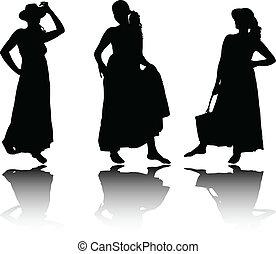 lato, sylwetka, stroje, kobiety