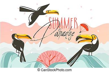 lato, sztuka, parsdise, abstrakcyjna scena, ptaszki, odizolowany, tropikalny, tekst, ilustracje, pociągnięty, biała plaża, ręka, tukan, tło, rysunek, graficzny, typografia, wektor, zachód słońca, czas