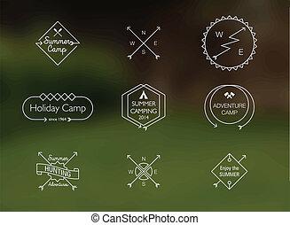 lato, themed, obóz, cienka lina, symbole