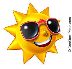 lato, uśmiechanie się, litera, słońce