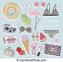 lato, wektor, fason, przybory