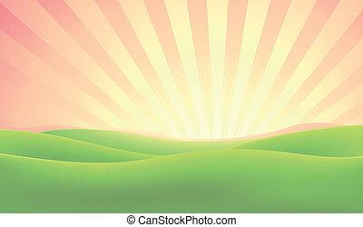 lato, wschód słońca, tło, natura