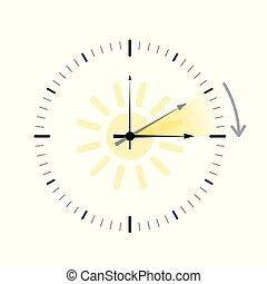 lato, zbawczy, zegar, słońce, światło dzienne, czas