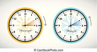lato, zbawczy, zima, zegar, światło dzienne, czas