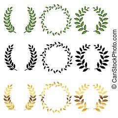 laur, tło., zbiór, wektor, ilustracja, wieniec, biały, komplet, odizolowany