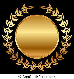 laurels, wektor, czarnoskóry, złoty
