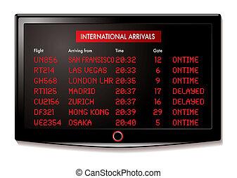 lcd, lotnisko, przyjazdy