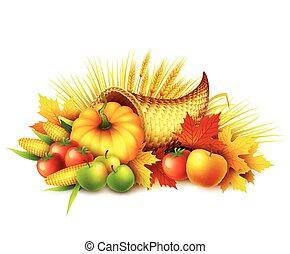 leaves., wektor, celebration., design., pełny, żniwa, cornucopia, jesień, ilustracja, upadek, owoce, dynia, dziękczynienie, vegetables., powitanie