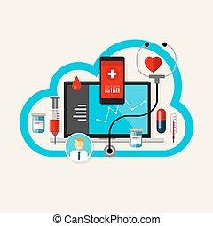 leczenie, medyczny, online, zdrowie, internet, chmura