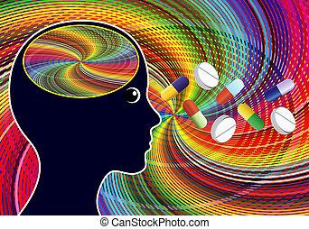 lekarstwa, amphetamines, podobny, podnieta