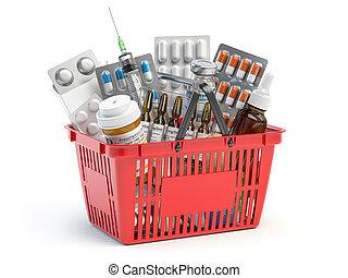 leki, szczepionka, pigułki, white., pełny, pęcherze, kosz, zakupy, odizolowany