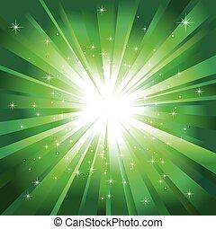 lekka zieleń, gwiazdy, iskrzasty, pękać