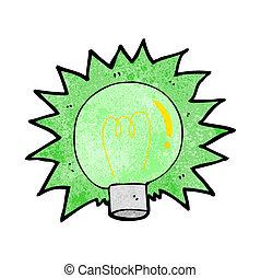 lekki, błyszczący, zielony, rysunek, bulwa