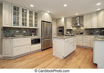 lekki, barwny, cabinetry, kuchnia