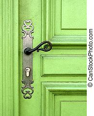 lekki, drzwi, zielony