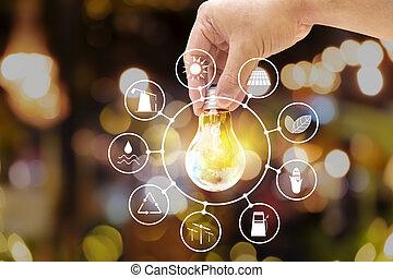 lekki, ikona, bulbs., zasoby, energia