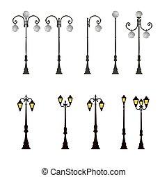 lekki, lampa, słup, ulica, słup latarni, poczta, droga
