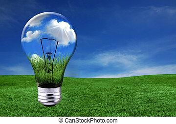 lekki, morphed, zielony, rozłączenia, bulwa, energia, krajobraz