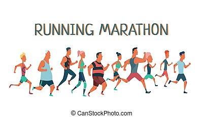 lekkoatletyka, clothes., kobiety, atletyka, ubrany, race., grupa, wyścigi, maraton, inny, wypadek, ludzie, trudny, outrun, każdy, mężczyźni, uczestnicy